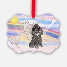 Silver Poodle Angel Ornament
