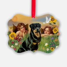 Two Angels & Rottie Ornament