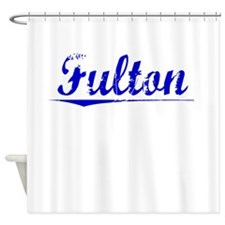 Fulton, Blue, Aged Shower Curtain