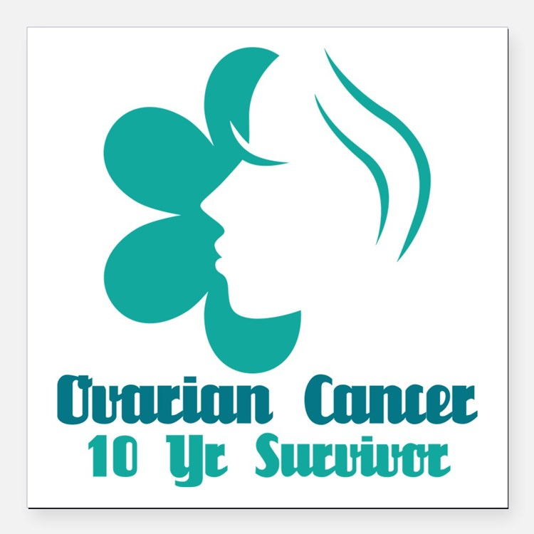 Ovarian Cancer 10 Year Survivor Square Car Magnet