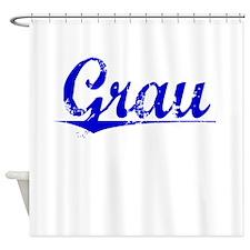 Grau, Blue, Aged Shower Curtain