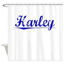 Harley, Blue, Aged Shower Curtain
