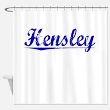 Hensley, Blue, Aged Shower Curtain
