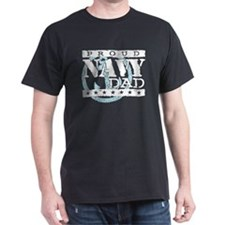 Proud Navy Dad Black T-Shirt
