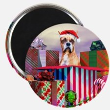 Boxer Claus Christmas Magnet