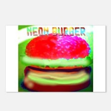 neon burger Postcards (Package of 8)