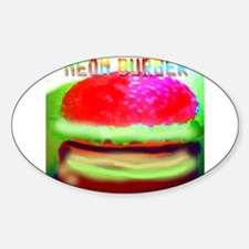 neon burger Oval Decal