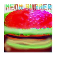 neon burger Tile Coaster