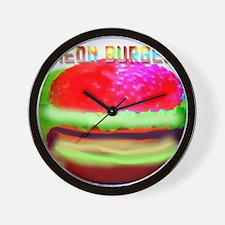 neon burger Wall Clock