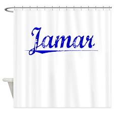 Jamar, Blue, Aged Shower Curtain