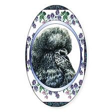 Black Poodle Designer Oval Decal