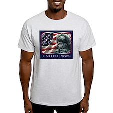 Poodle United Paws Flag Ash Grey T-Shirt