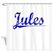 Jules, Blue, Aged Shower Curtain
