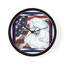Poodle USA Flag Wall Clock