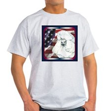 Poodle USA Flag Ash Grey T-Shirt