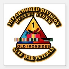 "Army - DS - 1st AR Div Square Car Magnet 3"" x 3"""