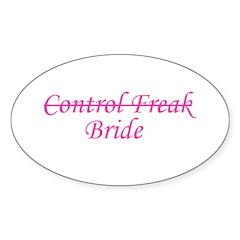 Control Freak Bride Oval Decal