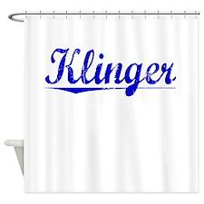 Klinger, Blue, Aged Shower Curtain