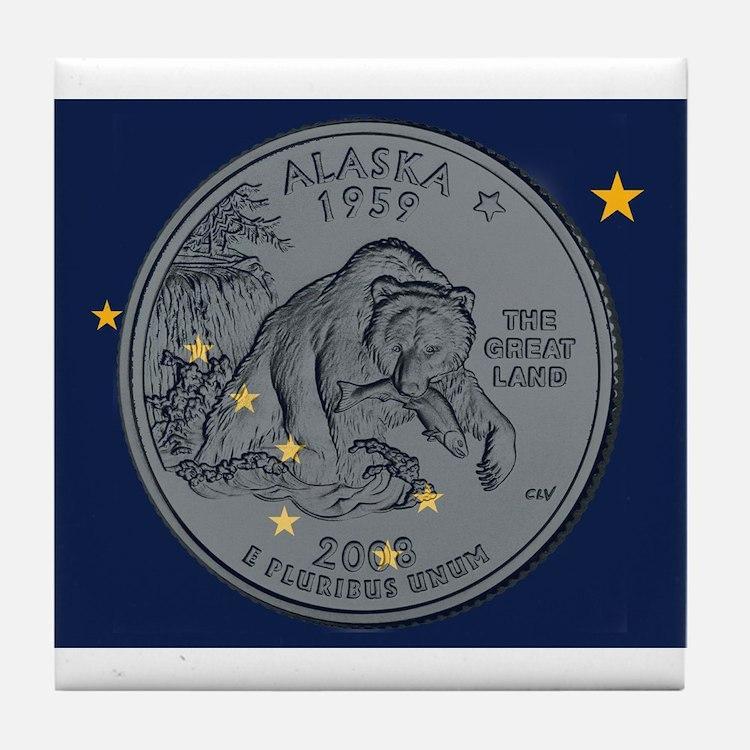 Alaska Quarter 2008 Tile Coaster