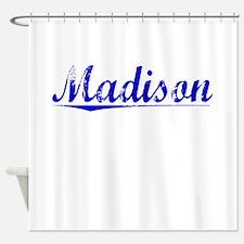 Madison, Blue, Aged Shower Curtain