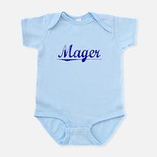 Mager, Blue, Aged Infant Bodysuit