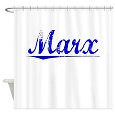 Marx, Blue, Aged Shower Curtain