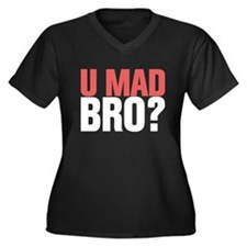 You Mad Bro? Women's Plus Size V-Neck Dark T-Shirt