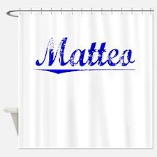 Matteo, Blue, Aged Shower Curtain