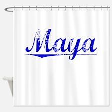 Maya, Blue, Aged Shower Curtain