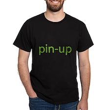 green pin up Black T-Shirt