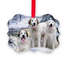 Great Pyrenees Picture Ornament - 3 Pyrs