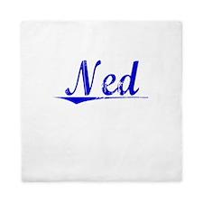 Ned, Blue, Aged Queen Duvet