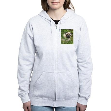 Pug in the Garden Women's Zip Hoodie