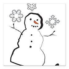 """Snowman Square Car Magnet 3"""" x 3"""""""