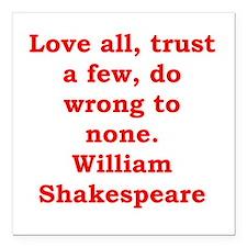 """william shakespeare Square Car Magnet 3"""" x 3"""""""