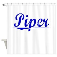 Piper, Blue, Aged Shower Curtain