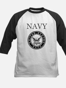 Grey Navy Emblem Kids Baseball Jersey