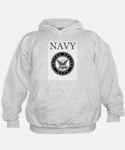 Grey Navy Emblem Hoody