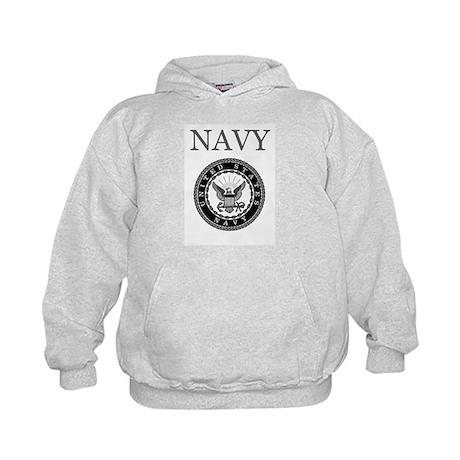 Grey Navy Emblem Kids Hoodie