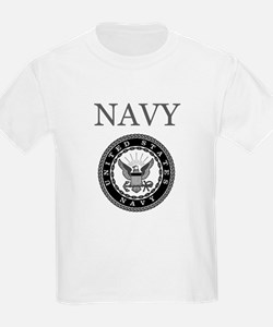 Grey Navy Emblem Kids T-Shirt