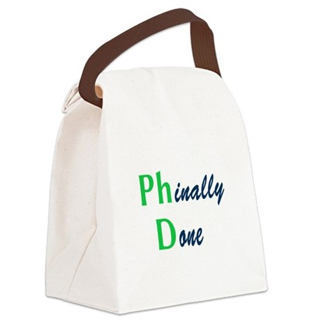 Phinally Done Green Canvas Lunch Bag