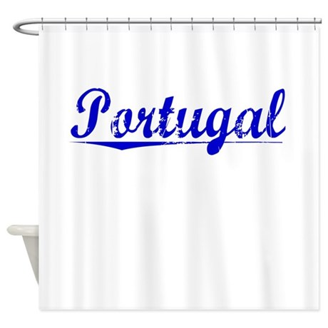 Portugal, Blue, Aged Shower Curtain