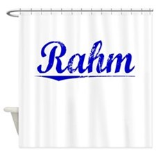 Rahm, Blue, Aged Shower Curtain