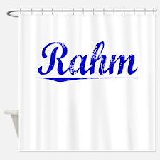 Rahm, Blue, Aged Shower Curtain