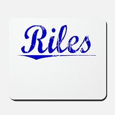 Riles, Blue, Aged Mousepad