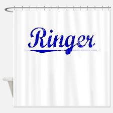 Ringer, Blue, Aged Shower Curtain
