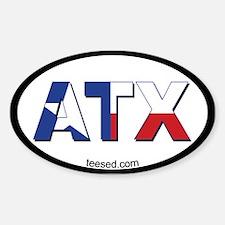 Austin ATX Texas Flag Oval Decal