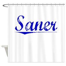 Saner, Blue, Aged Shower Curtain