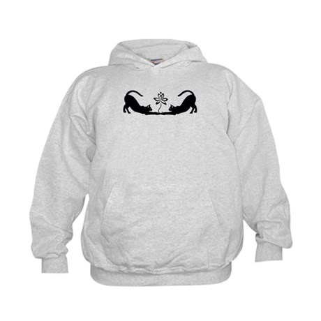 Cats Stretching with Lotus Kids Hoodie
