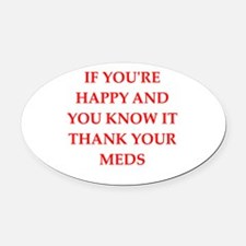 happy Oval Car Magnet